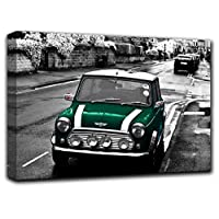 Austin Mini Cooper Wall Art Decor Picture Painting Poster Print on Canvas Panels Pieces - Vintage Car Theme Wall Decoration Set - Retro Car Wall Picture for Showroom Office 27 by 40 in