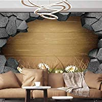 Wall Paper Decorations 3D trap Planks American Style Western Rustic Wood white daisies growing grass Removable Wall Mural ,154
