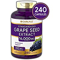 Carlyle Grape Seed Extract 16,000 mg Equivalent 240 Capsules – Maximum Strength Standardized Extract   Non-GMO, Gluten Free