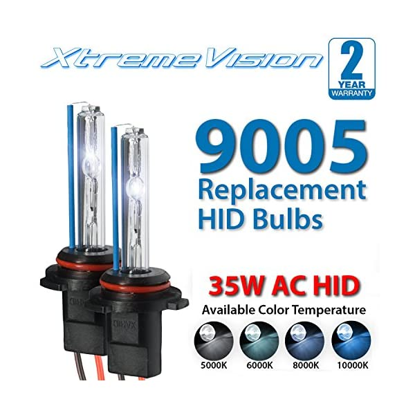 9005 6000K XtremeVision HID Xenon Replacement Bulbs - 2 Year Warranty 1 Pair Light Blue