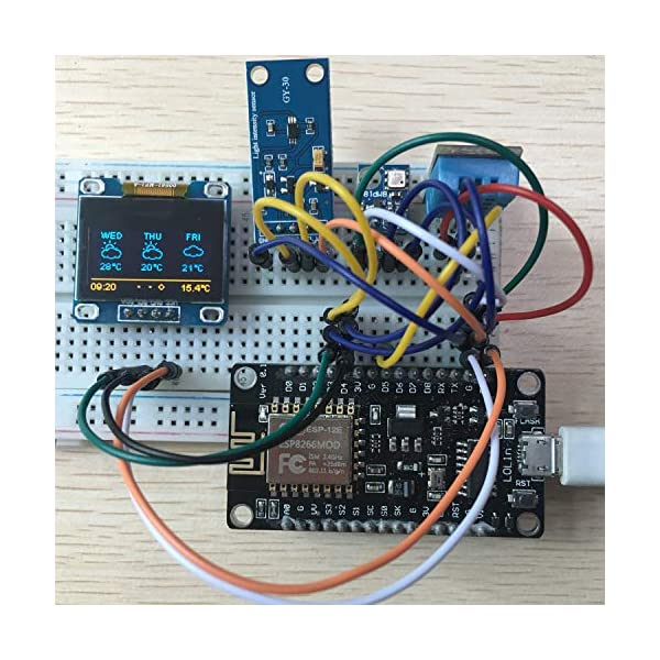 ESP8266 Weather Station Kit with DHT11 Temperature Humidity BMP180 Atmosphetic Pressure BH1750FVI Light Sensor 0.96 OLED IIC YellowBlue Display for Arduino IDE IoT Starter Tutorial Included