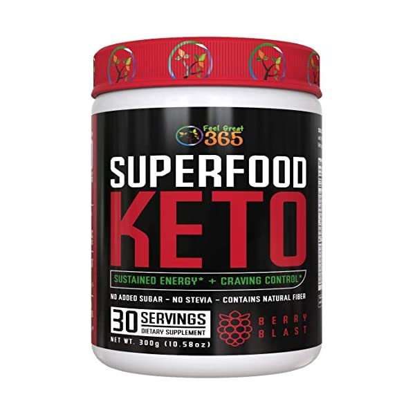 Superfood Keto by Feel Great 365 - Doctor Formulated Ketosis Supplement with Over 50 Superfoods, No Sugar Added, No Stevia, Vitamins, Fruits, Veggies, Probiotics, Digestive Enzymes