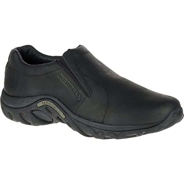 Merrell Mens Jungle Moc Midnight Black Leather Slip-on Shoe