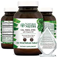 Natural Nutra Calcium Magnesium Zinc Supplement with Vitamin D3 for Bone Strength, Health and Healing, Gluten Free and Sugar Free, Essential Mineral Complex, 1000/500/25 mg - 100 Vegetarian Tablets