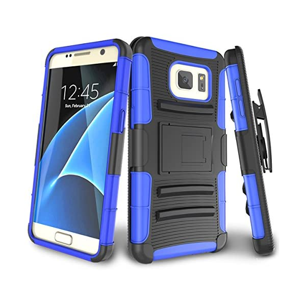 AICase Heavy Duty Full Body Galaxy S7 Case Black 2016 Tough 4 in 1 Rugged Shockproof Cover with Belt Clip Armor Protective Cover for Samsung Galaxy S7