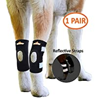 NeoAlly Dog Braces [Short Version] for Short Leg Dogs Canine Rear Hock Support with Safety Reflective Straps for Hind Leg Wounds Heal and Injuries and Sprains from Arthritis (Pair)