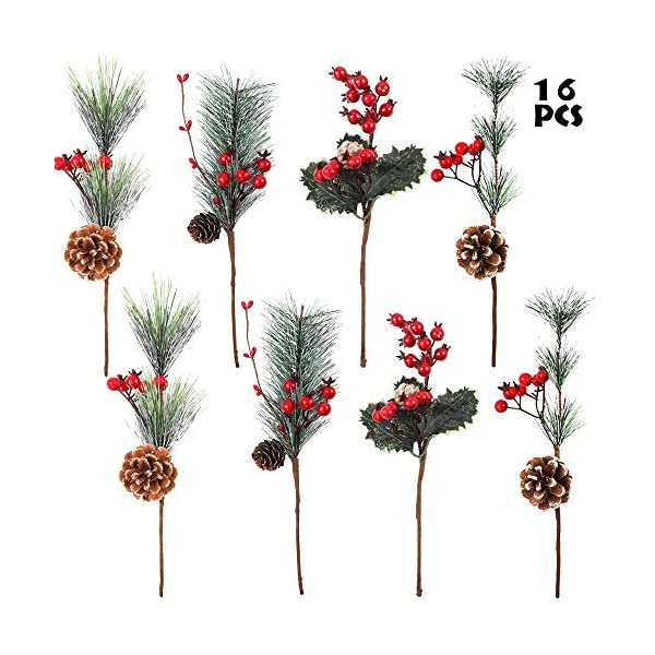 Color A URATOT 24 Pieces Artificial Pine Picks Mini Artificial Pine Tree Christmas Pine Branches for Christmas Party Flower Arrangements Wreaths and Holiday Decorations