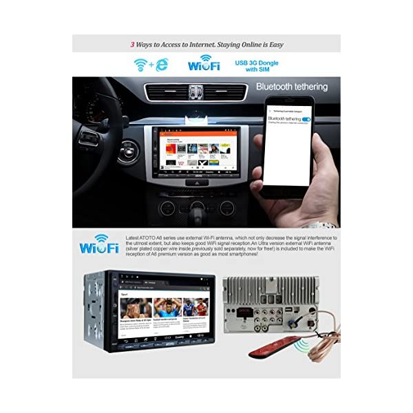 ATOTO A6 Universal 2 Din Android Car Navigation Stereo with Dual Bluetooth Standard A6Y2710S 1G//16G Car Entertainment Multimedia Radio,WiFi//BT Tethering Internet,Support 256G SD /&More New