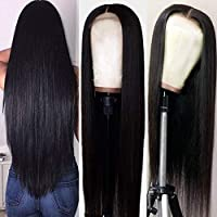 Hermosa 9A Lace Front Wigs Human Hair with Baby Hair Pre Plucked Bleached Knots Remy Brazilian Straight Lace Wigs for Black Women Natural Color 16inch