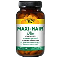 Country Life Maxi-Hair Plus Maximized with 5,000mg Biotin - Healthy Hair, Skin & Nails Support Supplement - Gluten-Free, Vegetarian, Soy-Free, Preservative-Free - 120 Vegetarian Capsules