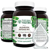 Natural Nutra Mushroom Defense Mix Immune Support Complex Supplement, Made with Organic Blend of Reishi, Cordyceps, Lions Mane, Maitake, Turkey Tail Extract, 60 Capsules