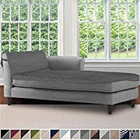 Sofa Shield Original Patent Pending Reversible Sofa Chaise Protector, 102x34 Inch, Washable Furniture Protector, 2 Inch Strap, Chaise Lounge Slip Cover Throw for Pets, Dogs, Kids, Cats, Charcoal