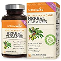 NatureWise Herbal Detox Cleanse Laxative Supplements   Natural Colon Cleanser Herb & Fiber Blend for Constipation Relief, Toxin Rid, Gut Health, & Weight Loss Support [1 Month Supply - 60 Capsules]