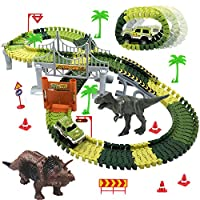 baccow Kids Dinosaur World Toys for 3 4 5 6 7 8 Year Old Boys Girls Gifts 142 Flexible Assembly Train Tracks Car Toys 2 Dinosaurs(Extra 1 Set Traffic Signs)