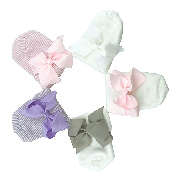 Vpogn Newborn Baby Girl Hospital Hat with Bowknot Toddler Infant Hat Baby Beanie Caps