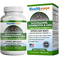 Glucosamine Chondroitin MSM - Advanced Triple Strength Joint Health Support Supplement - Relief from Sore Knee, Hip, Finger, Wrist, Elbow, Shoulder, Back Pain - Non-GMO Formula - 250 Capsules