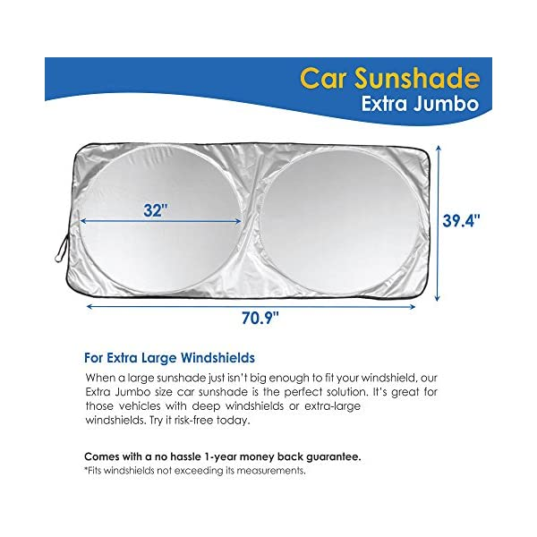 Trucks Coveted Shade Extra Jumbo Car Windshield Sunshade Fits Extra Large Windshields in Minivans Cars 70.9 x 39.4