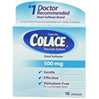 Colace Regular Strength Stool Softener, 100 mg Capsules, 10 Count, Docusate Sodium Stool Softener for Gentle, Dependable Relief
