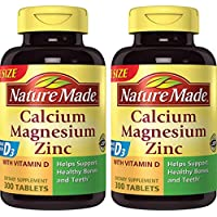 Nature Made Calcium, Magnesium & Zinc w. Vitamin D Tablets Value Size (Pack of 2)