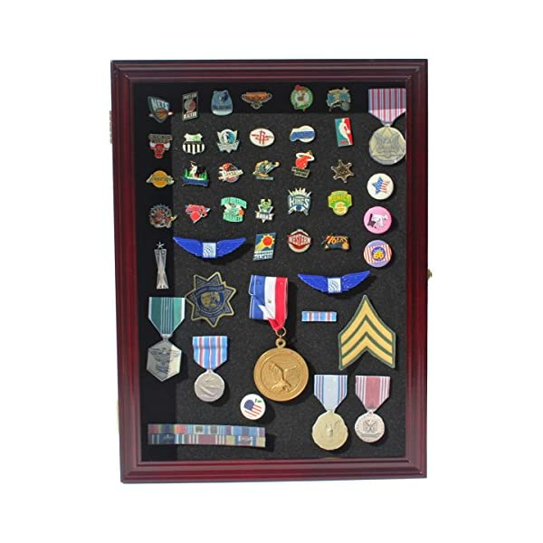Cherry Finish PC02-CH Lockable Pin//Medal Display Case Shadow Box Glass Door