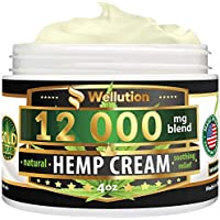 Hemp Cream - 12000 mg / 4 oz - Natural Seed Oil Extract for Knee, Lower Back, Foot, Muscle, Wrist and Joint Pain Relief - Extra Strength Massage Lotion with Arnica, Menthol and Natural Oils