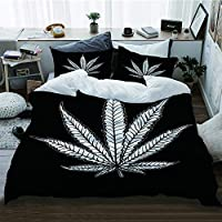 NIKIVIVI Duvet Cover,Cannabis Leaf Marijuana Herb Weed Ganja Illicit Narcotic Illegal Drug Symbol,Quilt Cover Set with Zipper Closure,Super Soft Bedding Sets,Queen/Full Size 88