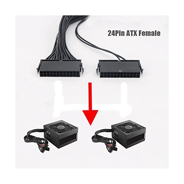 Dual PSU Power Supply Splitter Cable for 24-Pin 24 Pin Dual Psu Adapter Cable 30cm ATX Motherboard Mining Adapter Cable 12-inch Mega1Comp Exclusive 20+4