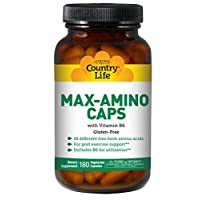Country Life Max-Amino Caps with Vitamin B6 for Absorption - 16 Free-Form Amino Acids Maximum Bioavailability - Energy & Post-Workout Muscle Recovery Support Supplement - 180 Vegetarian Capsules