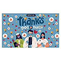 Funnytree Specisl Thanks for Doctors and Nurses Healthcare Workers Backdrop Photography Essential Employees First Responders Suppor Background Signs Yard Together to Fight Pandemic Banner Poster 5x3ft