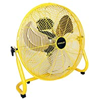 STANLEY 20 Inch Industrial High Velocity Floor Fan Direct Drive All-Metal Construction, 3 Speed Settings, Portable (ST-20F)