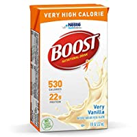 Boost Nutritional Drinks Very High Calorie Complete Nutritional Drink, Very Vanilla, 8 Ounce Box, (Pack of 27)