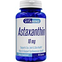 Astaxanthin 10mg - 180 Capsules - Astaxanthin Supplement 6 Month Supply Antioxidant Helps Support Exercise Recovery, Eye, Joint, Skin Health