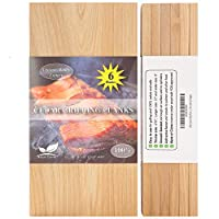 """Nature Carrier 6 Pack Cedar Grilling Planks with Thicker (4/10"""") & Larger (12""""x 6"""") Size. Adding Extra Flavor and Smoke to Salmon- BBQ China Incense Cedar Planks for Grilling Salmon, Fish, Veggies."""