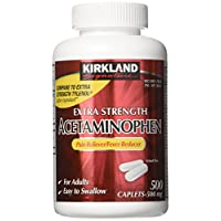 Kirkland Signature Extra Strength Acetaminophen 500mg Caplets (Pack of 2, 1000 Total Caplets)