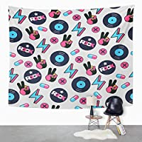Asjdad Rock and Roll Tapestry 50 X 60 Inch Hippie Vinyl Music Note Print Polyester Wall Hanging Art Decor for Bedroom Livingroom Dorm Decoration Tapestries