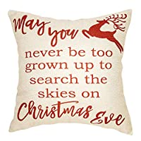Softxpp Rustic May You Never be Too Grown up to Search The Skies on Christmas Eve Winter Decoration Farmhouse Decor Cotton Linen Home Decorative Throw Pillow Case Cushion Cover Sofa Couch 18