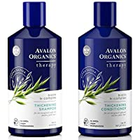 Avalon Organics All Natural Biotin B-Complex Therapy Thickening Shampoo and Conditioner For Hair Loss and Thinning Hair, 14 fl. oz. each