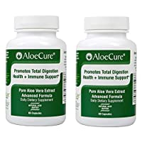 AloeCure Advanced Formula - Twice a Day Aloe Vera Capsule, 2 Pack, 120 Capsules - Natural Heart Burn Relief