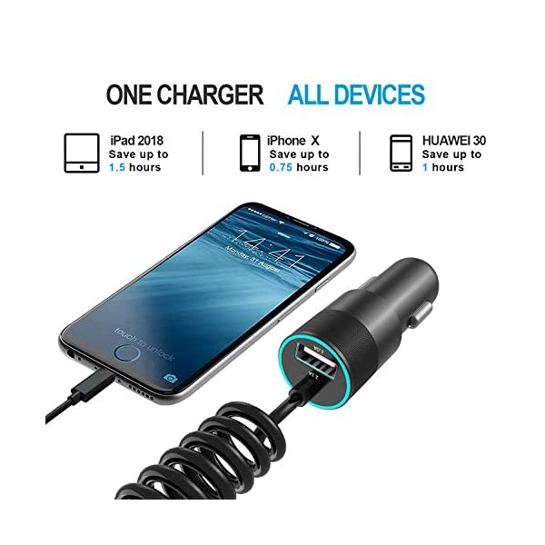DAXTROMN Car Charger 2 in 1 Dual Port Charging Compatible with iPhone 12//11 pro//XR//x//7//6s Note 9//Galaxy S10//S9//S8 iPad Air 2//Mini 3