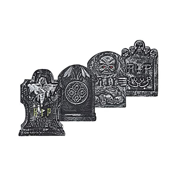 Pack of 4 BELANT Halloween Decorations 15 Graveyard Tombstones Assortment Foam RIP Headstone Decorations with 8 Bonus Stakes for Outdoor Halloween Yard Decorations