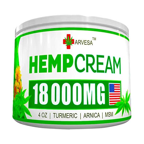 Hemp Pain Relief Cream - 90 000MG - 4 OZ - Made in USA - Lower Back, Neck, Joint, Knee, Muscle Inflammation - All-Natural Hemp Extract - with Emu Oil, Arnica, MSM, Turmeric