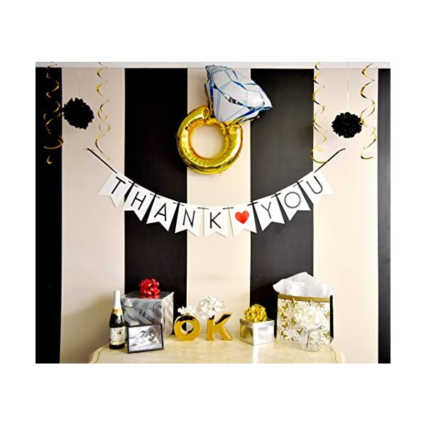 2 Pack Just Married /& Thank You Banner Pack Wedding Decorations for Reception Bridal Shower and Engagement Photos Wedding Signs Garlands and Bunting Banners