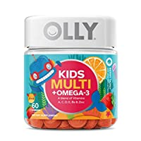 OLLY Kids Multi + Omega 3 Gummy Multivitamin, 30 Day Supply (60 Gummies), Berry Tangy, Vitamins A, C, D, E, B, Zinc, Omega 3, Chewable Supplement