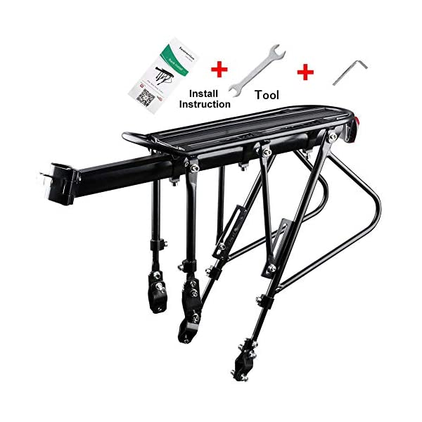 310Lb Capacity Universal Adjustable Bike Cargo Rack Black Easy to Install Cycling Equipment with Reflective Logo Luggage Carrier Racks Footstock Can Carry People