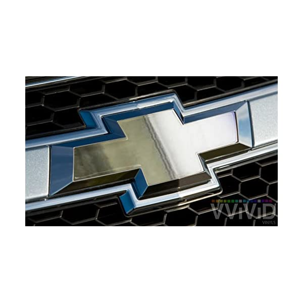 VVIVID Brushed Texture Stainless Steel Chrome Auto Emblem Vinyl Wrap Overlay Cut-Your-Own Decal For Chevy Bowtie Grill x2 Rear Logo Diy Easy To Install 11.80 Inches x 4 Inches Sheets