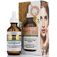 Advanced Clinicals Turmeric Oil for face. Antioxidant formula with Rose Extract and Jojoba oil for dry skin, redness, and skin blemishes. (1.8oz)