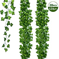 Ohuhu Fake Ivy Vines 20 Strands 79 Inch Each, Artificial Ivy Leaves Vine Garland Plants Greenery for Wedding Decor Baby Shower Garden Birthday Party