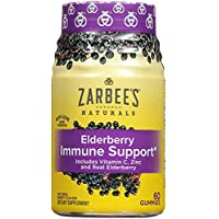 Zarbee's Naturals Elderberry Immune Support* with Vitamin C & Zinc, Natural Berry Flavor, 60 Gummies