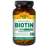 Country Life High Potency Biotin 10mg Essential B Vitamin - Healthy Hair, Skin, Scalp & Nails Support Supplement - Promotes Clean Energy - Non-GMO, Gluten-Free, Vegan, Kosher - 120 Vegan Capsules