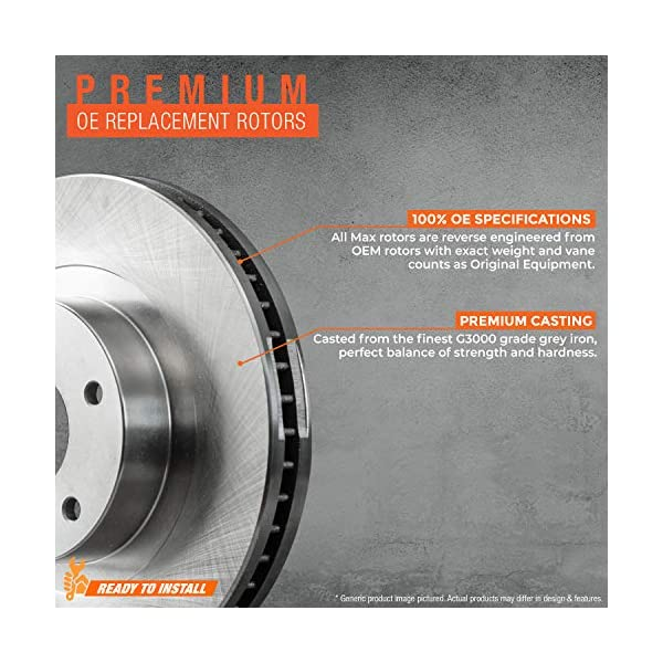 Pair - 1997-2001 Camry V6 - 2 1999-2003 Solara 1998-2004 Toyota Avalon Detroit Axle Front Drilled and Slotted Disc Brake Kit Rotors w//Ceramic Pad Kit for 1997-2001 Lexus ES300 -